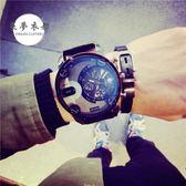 手錶超大錶盤手錶男士歐美潮皮帶休閒防水帶日歷非機械個性潮男腕錶【好康八五折】