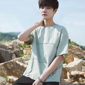 春夏韓版男士純色寬鬆短袖T恤青少年小清新五分袖七分袖t