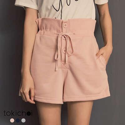 東京著衣-tokicho-韓妞最愛多色腰圍鬆緊綁帶排釦短褲-S.M(182076)