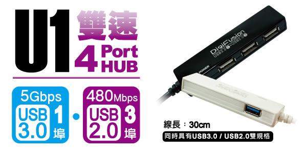 [哈GAME族]現貨 可刷卡 滿額$600免運費 伽利略 U1 雙速 4埠(USB 3.0*1+USB 2.0*3) USB HUB 黑色/白色 U3H04C
