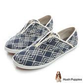 Hush Puppies 幾何單寧咖啡紗懶人帆布鞋-深藍