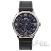茱麗葉精品【全新現貨】 COACH W1607 花朵C LOGO印花石英腕錶.黑/午夜藍