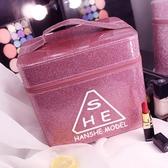 化妝箱大容量簡約便攜護膚品收納盒雙層韓版手提化妝包美甲工具箱
