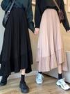 魚尾裙 高腰半身裙春女2021新款百搭不規則百褶裙氣質黑色A字魚尾裙子【快速出貨八折特惠】