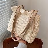 側背包 法國小眾包包高級大容量蕾絲側背包女2021新款夏草編包網紅托特包 嬡孕哺 免運