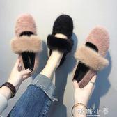 歐洲站豆豆鞋女秋冬2018新款韓版平底粗跟帶毛毛鞋子女中跟單鞋女  嬌糖小屋