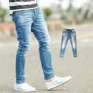牛仔褲 韓國製立體抓皺刷白合身版牛仔褲【...