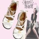日系lolita洛麗塔軟妹鞋低跟大碼綁帶蝴蝶結圓頭公主鞋平底單鞋女