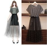 工廠批發不退換原創實拍二件式洋裝XL-5XL/33181夏新款女裝胖mm加肥加大減齡時尚顯瘦兩件套連衣裙