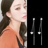 【NiNi Me】韓系耳環 氣質甜美鋯石愛心垂墬雙線925銀針耳環 耳環 N0246