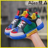 兒童鞋子 兒童運動鞋透氣旅游鞋皮款韓版老爹鞋