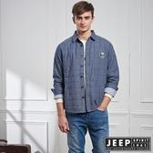 【JEEP】素色格紋長袖外套式襯衫 (藍)