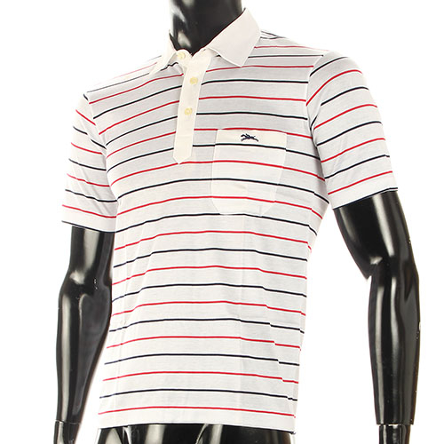 LONGCHAMP經典純棉條紋短袖POLO衫(白/紅)179240-5