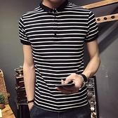LX夏季新款男士短袖韓版潮流翻領子青年橫條紋修身T恤透氣polo衫 有緣生活館
