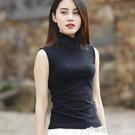 黑色高領無袖修身上衣女背心 坎肩t恤內搭洋氣顯瘦時尚百搭打底衫 檸檬衣舍