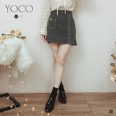 東京著衣【YOCO】優雅NO.1縫線復古釦設計A字包臀裙-M.L(191806)