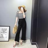 VK精品服飾 韓國風一字領條紋棉T加背帶寬口褲套裝短袖褲裝