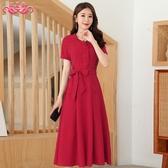 高端大碼女裝純色棉麻連身裙 女2020夏季新款韓版收腰顯瘦氣質長裙洋裝 JX1595『優童屋』