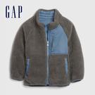 Gap男幼童 保暖仿羊羔絨拼接半高領外套 593071-灰色