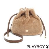 PLAYBOY- 小水桶包 時尚小毛怪系列-氣質杏