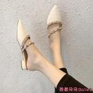 穆勒鞋 包頭半拖鞋女外穿新款鉚釘涼拖女夏時尚細高跟百搭穆勒拖-Ballet朵朵