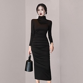 歐媛韓版 長袖洋裝 打底長裙女內搭秋冬新款高領修身性感包臀氣質白領職業連身裙