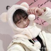 兔子耳朵帽子女秋冬季甜美可愛冬天毛絨圍巾一體韓版百搭護耳保暖 蓓娜衣都