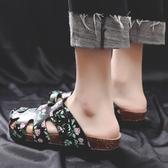 2019夏軟木洞洞鞋女大碼平底半拖鞋情侶沙灘鞋懶人鞋包頭涼拖鞋女