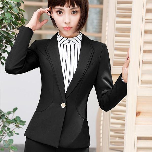 雙層領修身純色單扣OL秋冬西裝外套~偏小版~美之札