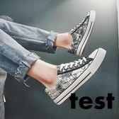 春秋季男士低筒帆布鞋男鞋韓版運動板鞋透氣學生塗鴉布鞋子休閒鞋 LOLITA