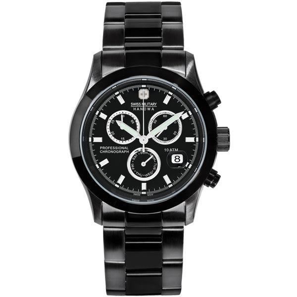 SWISS MILITARY HANOWA 自由者計時三環日曆軍錶(黑)