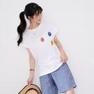 【慢。生活】卡通圖案刺繡連袖T恤 1553  FREE 白色