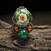 民族風戒指食指可調節女瑪瑙景泰藍花朵復古宮廷裝飾品 DN12429【旅行者】