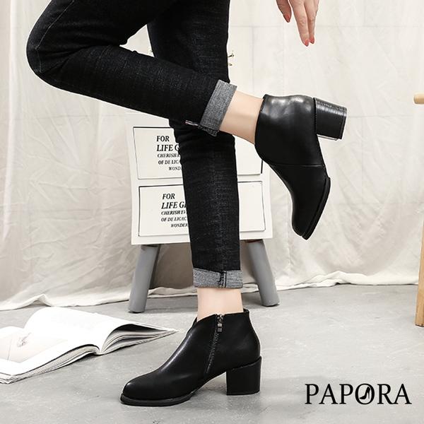 PAPORA百搭V造型粗跟短靴【KY6608】黑(偏小一碼)