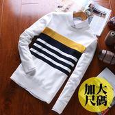 加大尺碼M~3L,情侶 英倫 針織 條紋下擺螺紋長袖針織衫(三色)【CJC1602】