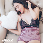 愛麗絲的幻想‧蕾絲柔紗連身性感睡衣(藕粉色)  Free Size Choco Shop