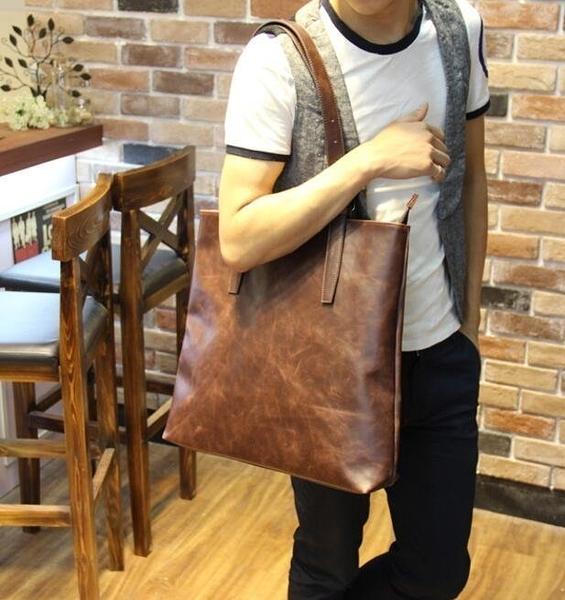 FINDSENSE Z1 韓國 時尚 潮 男 皮質 方形大包 單肩包 手提包 單