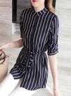 雪紡衫女長袖2021年春季新款洋氣超仙條紋襯衫寬鬆顯瘦很仙的上衣 依凡卡時尚