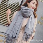 圍巾披肩-韓版仿羊絨格子菱格保暖2way女圍巾 (SSA0014)