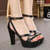 鞋超高跟防水臺粗跟涼鞋女韓版復古夏季黑色女鞋 伊莎公主