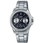 【CASIO】花草圖騰三眼三針不鏽鋼仕女錶-黑面(LTP-2088D-1A2)