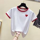 短袖t恤女夏装百搭爱心刺绣学生体恤简约白色纯棉修身上 優尚良品