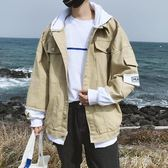 拼接連帽外套男士牛仔衣服韓版潮流帥氣學生寬鬆夾克男裝褂子 町目家