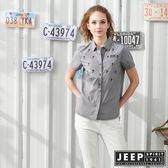 【JEEP】女裝熱帶叢林刺繡襯衫-黑色