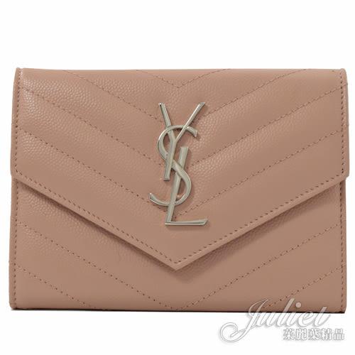 茱麗葉精品【全新現貨】YSL 466782 MONOGRAM V字紋牛皮扣式護照/萬用夾.裸膚