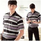 【大盤大】(P62671) 男 條紋 短袖POLO衫 口袋保羅衫 休閒棉T 休閒上衣 深色 顯瘦【剩M和L號】