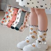 兒童襪子 寶寶松口長筒棉質女孩公主堆堆襪潮學院男女童中筒棉質襪