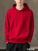 中國紅潮牌寬鬆衛衣男連帽純棉純色春秋季休閒套頭帽衫男學生外套『艾麗花園』