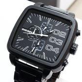 【萬年鐘錶】DIESEL 潮牌 霸氣 方型 特殊設計 計時碼錶  黑錶面 黑殼 超大錶徑 58mm DZ4300