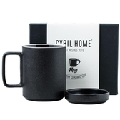 cybil 北歐黑色磨砂馬克杯帶蓋杯子陶瓷杯咖啡杯水杯家用禮盒送禮
